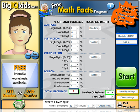 Math Facts | math drills | mathfacts | multiplication facts practice ...